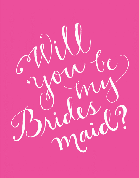 Pink Will You Be My Bridesmaid Card