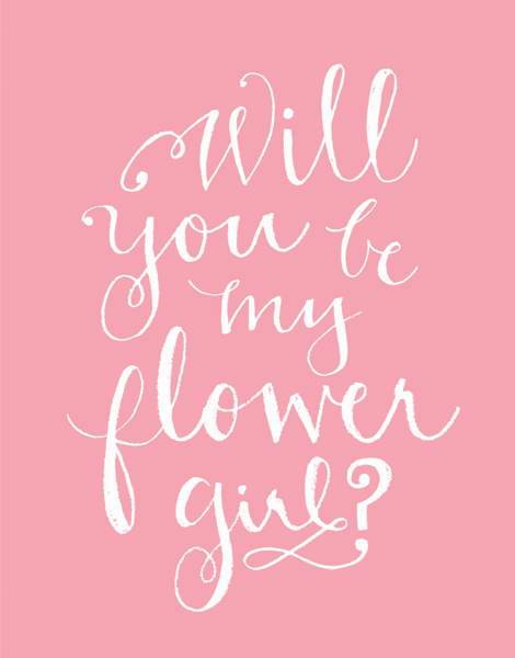 Pink Calligraphy Will You Be My Flower Girl Card