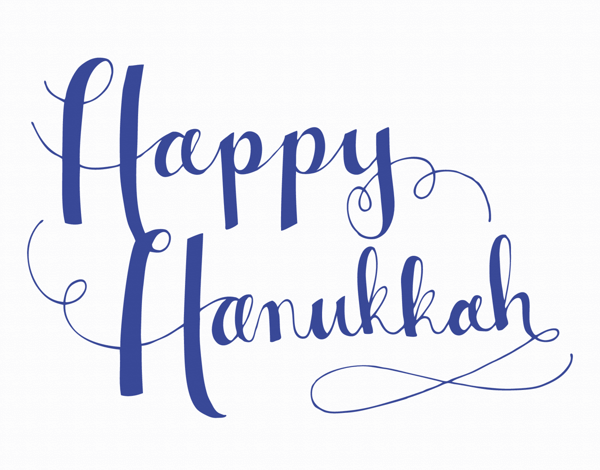 Blue Cursive Happy Hanukkah Card