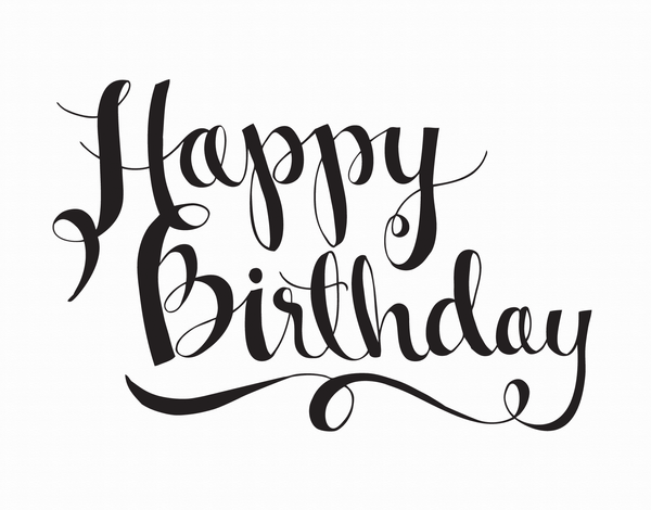 Simple Black Happy Birthday Script