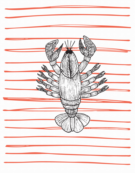 Hand Drawn Lobster Hello Card