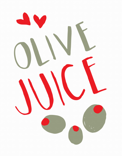 Hand Drawn Olive Juice Hello Card
