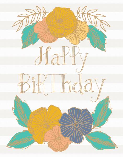 Flower Stripe Birthday