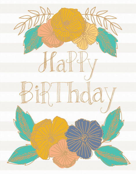 Flower Stripe Birthday