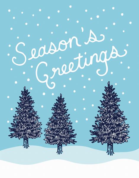 Season's Greetings Pine Trees