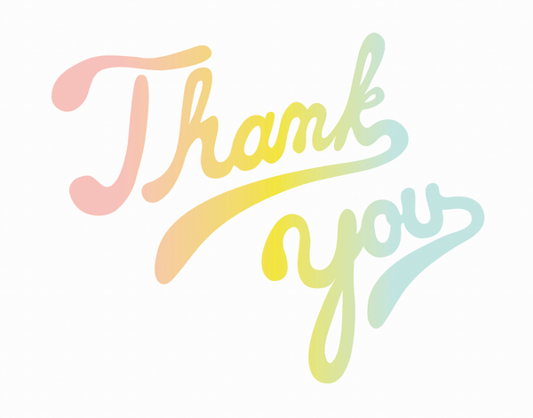 Soft Rainbow Lettered Thank You Card