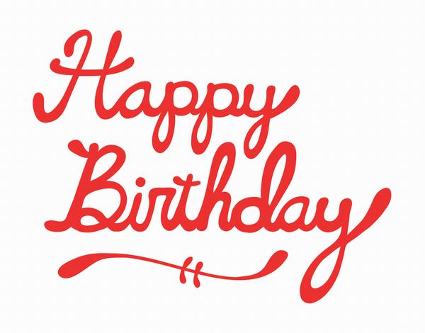 Red Cursive Happy Birthday Card
