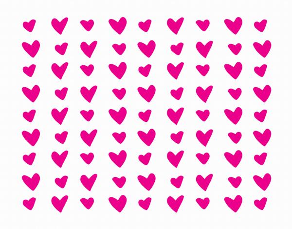Hand Drawn Fuchsia Hearts Stationery