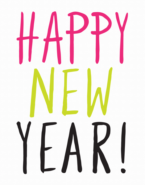 Tricolored Happy New Year Card
