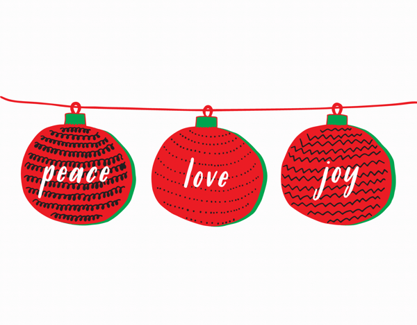 Peace Love & Joy Ornaments