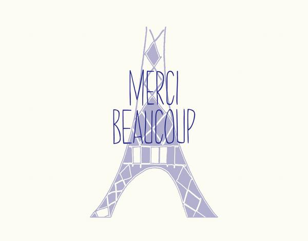 Merci Eiffel Tower Thank You Card