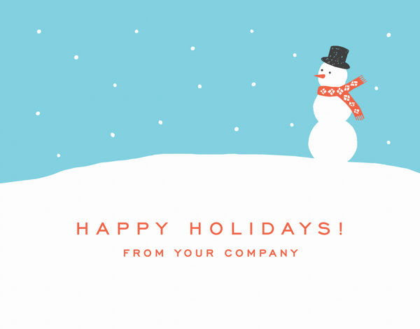 corporate holiday card with snowman