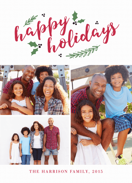 red font holiday photo collage card