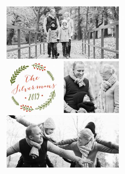 pretty wreath holiday card with multiple photos