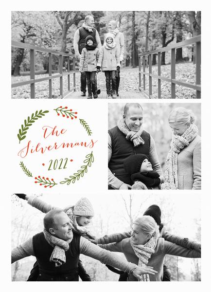 pretty wreath holiday card with multiple photos