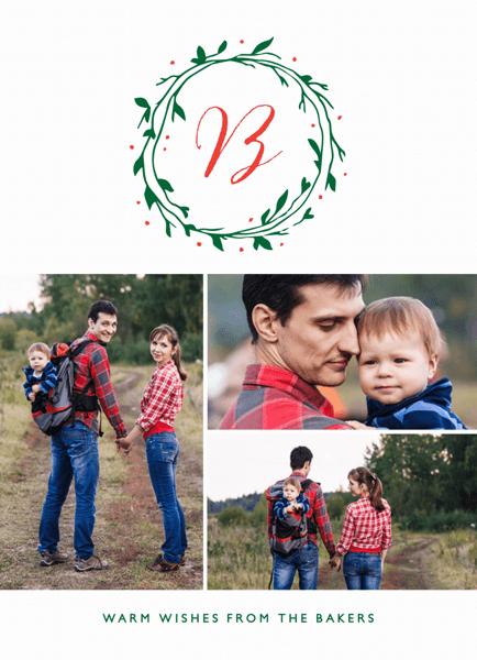 family initial minimalist holiday photo card