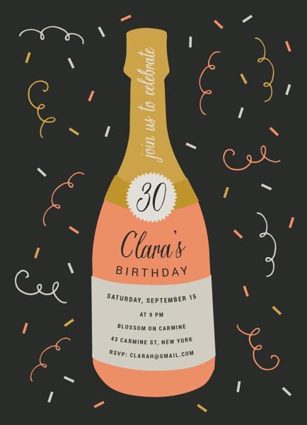 Champagne Birthday Invite
