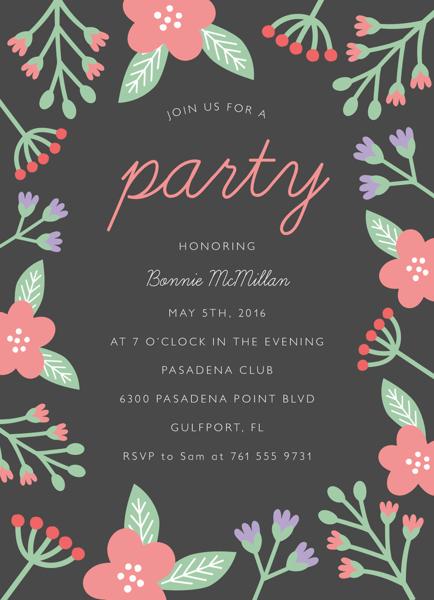 Grey Floral Party Invite