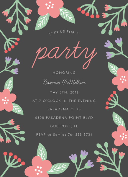 Grey Floral Party Invite