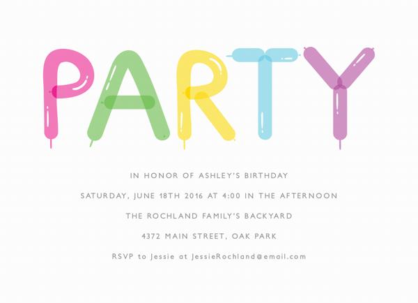 Party Balloons Card