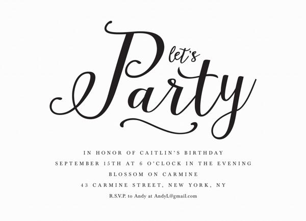 Black Lettering Invite