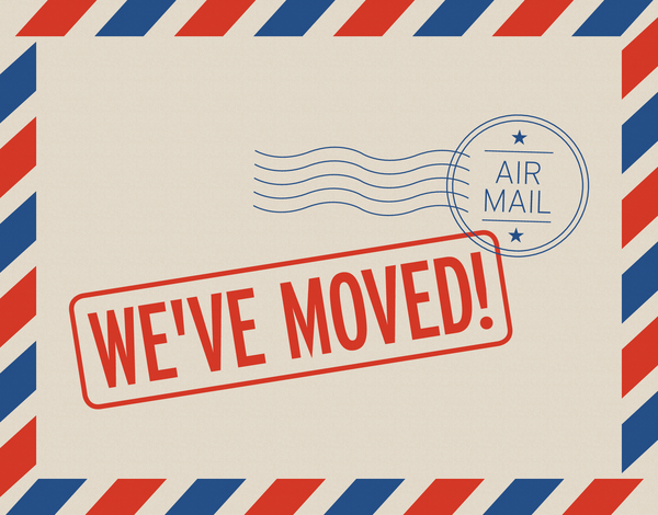 We've Moved Air Mail Card