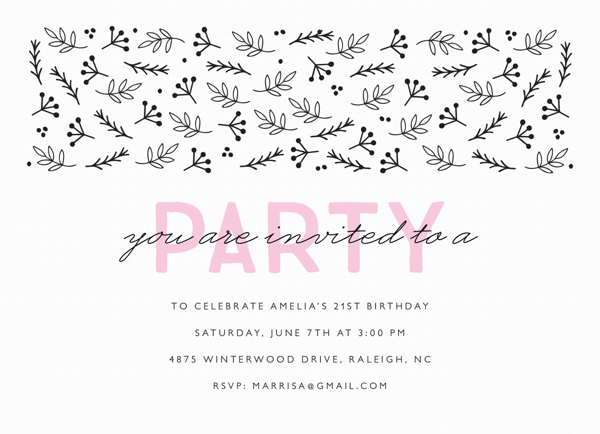 Black And Blush Party Invite