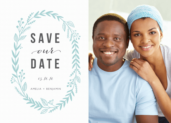 Blue Laurel Photo Save The Date