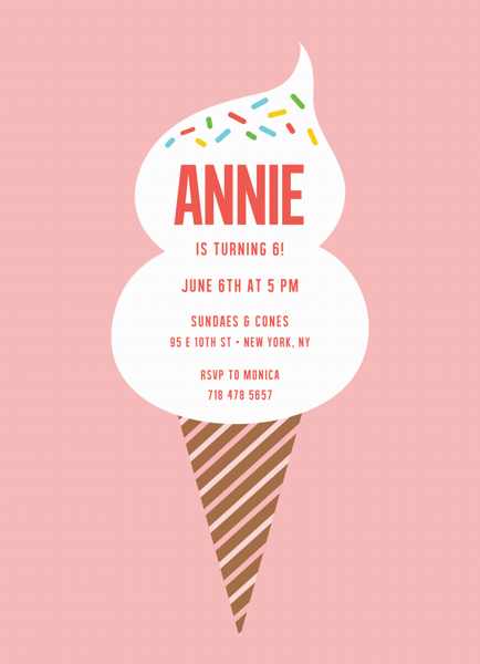 Cone Birthday Invite
