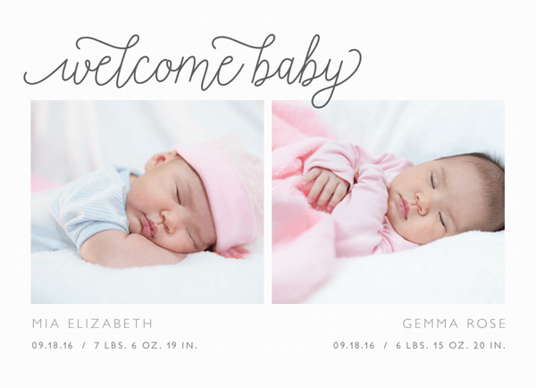 Twin Grey Script Birth Announcement