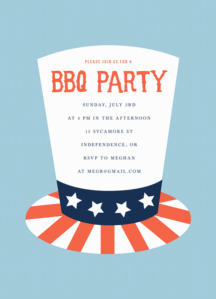4th of July Hat Invite