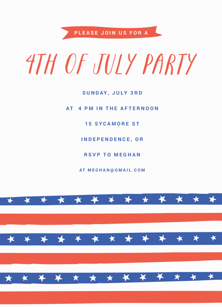 4th of July Stripes Invite
