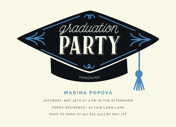 Graduation Hat Invite