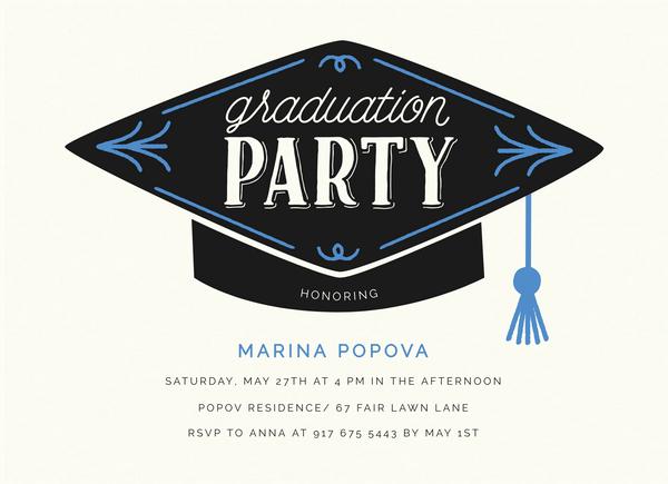 Graduation Hat Invite