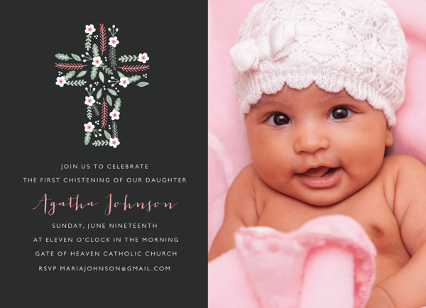 Floral Cross Christening Photo