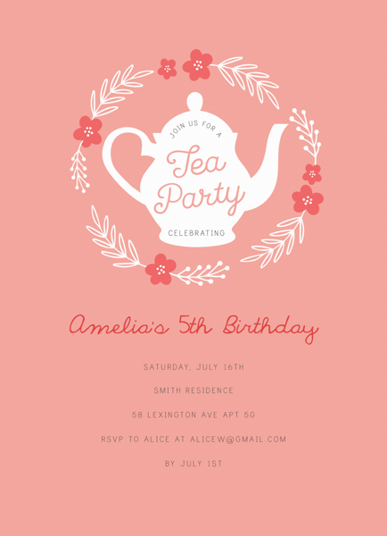 Floral Wreath Tea Party Invite