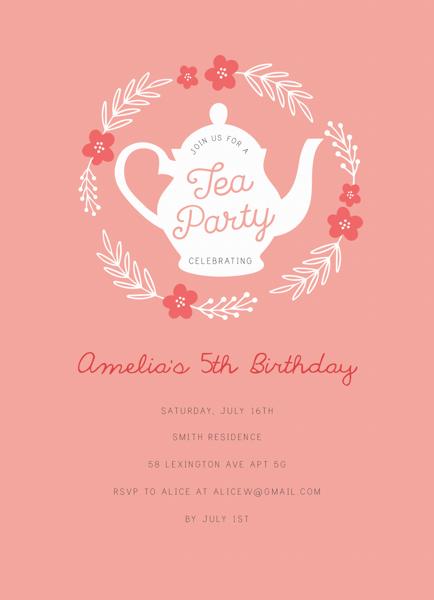 Floral Wreath Tea Party Invite