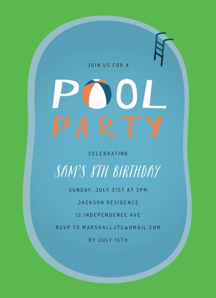Pool Party Birthday Invite