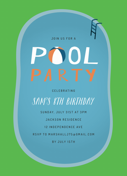 Pool Party Birthday Invite