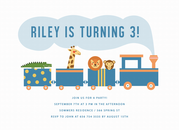 Safari Train Birthday Invite