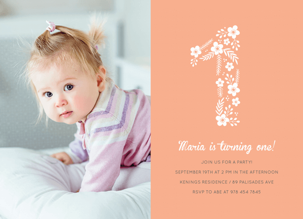Floral First Birthday Photo