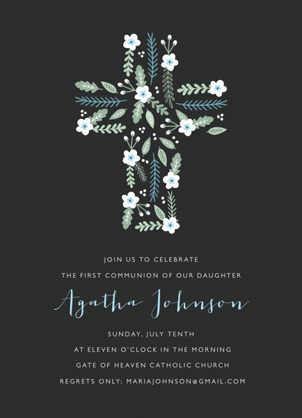 Floral Cross First Communion