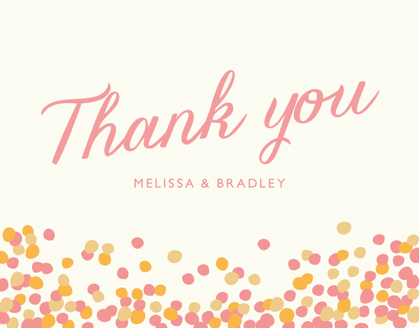 Pink Confetti Thank You Note