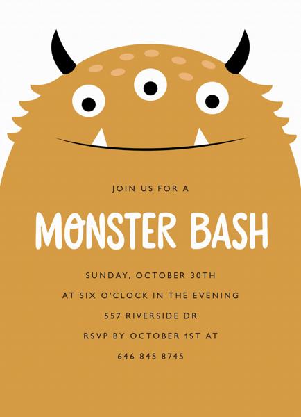 Monster Bash Halloween Party Invite