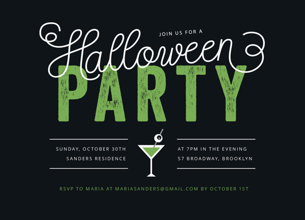Monster Cocktail Halloween Party Invite