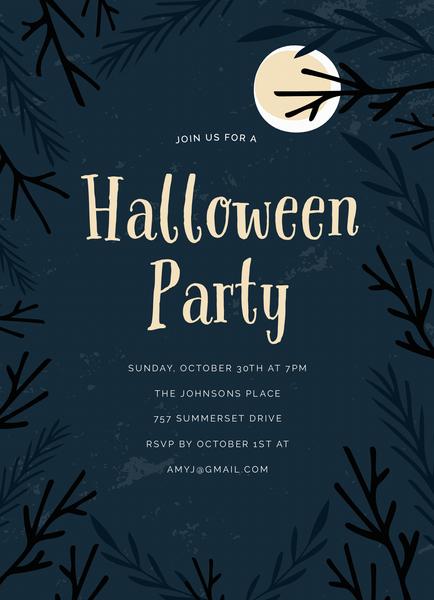 Moonlight Halloween Party Invite