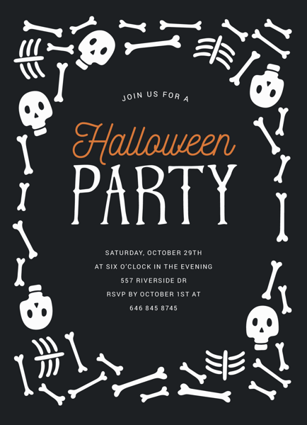 Skeleton Halloween Party Invite