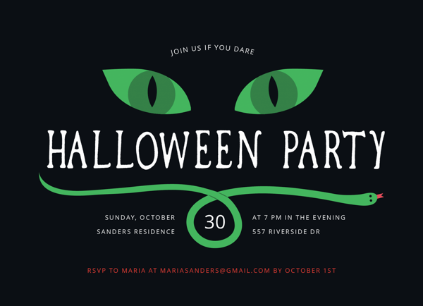 Spooky Snake Halloween Party Invite