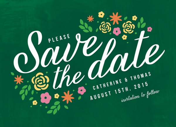 Green Floral Save The Date