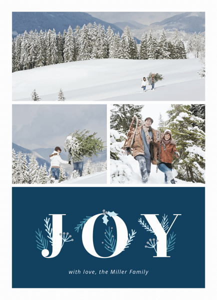 blue joy florals photo collage holiday template